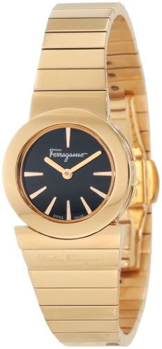 Ferragamo Women's F70SBQ5099 S080 Gancino Gold IP Black Dial Steel Watch