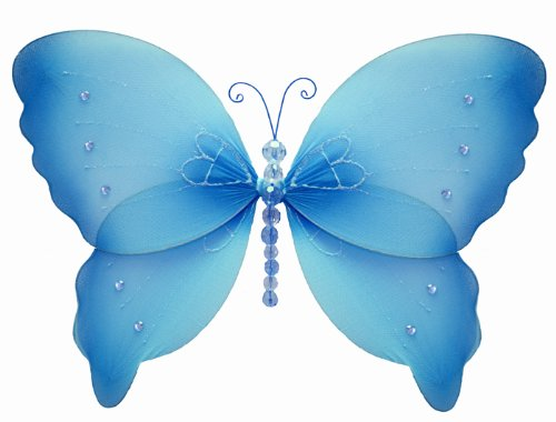 "Hanging Butterfly 7"" Small Blue Crystal Nylon Butterflies Decorations. Decorate For A Baby Nursery Bedroom, Girls Room Ceiling Wall Decor, Wedding Birthday Party, Bridal Baby Shower, Bathroom. Kids Childrens Butterfly Decoration 3D Art Craft"