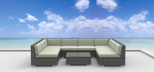 Urban Furnishing - Tahiti 9pc Modern Outdoor Backyard Wicker Rattan Patio Furniture Sofa Sectional Couch Set - Beige picture