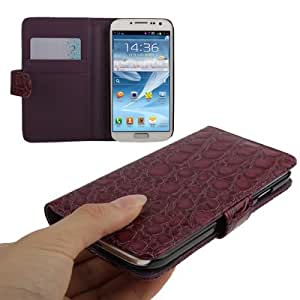Crocodile Texture Horizontal Flip Leather Case with Credit Card Slots for Samsung Galaxy S4 / i9500 (Dark Purple)