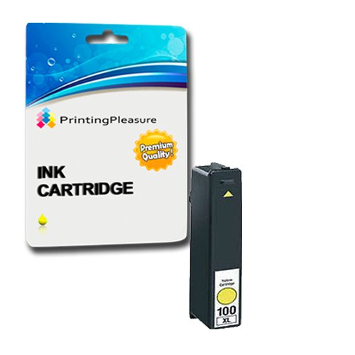 Printing Pleasure - 1 Gelb Hohe Qualität Tintenpatrone NO.100 kompatibel für Lexmark Drucker Impact S305, Interact S605, S405, Prospect Pro205, Intuition S505, Pinnacle Pro 901, Platinum Pro905, Prestige Pro 805, Prevail Pro 705