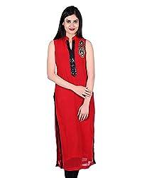 Elegance Expotex Women's Georgette Kurti(Red , Large)