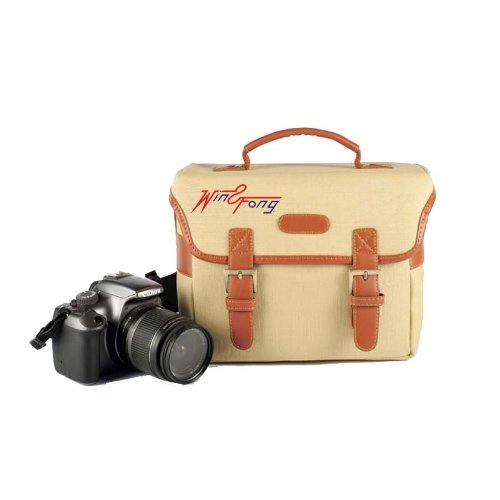 Win8Fong Retro Canvas Dslr Slr Camera Case Bag For Canon Nikon Sony Pentax Etc.Size(24Cm*H:18.5Cm*W:11Cm) / Beige