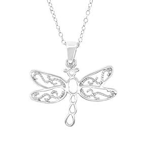 "Sterling Silver Filigree Dragonfly Pendant, 18"""