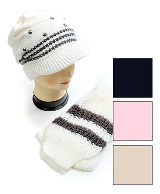 BG Striped & Bejeweled Knit Acrylic 2-Piece Cap and Scarf Set