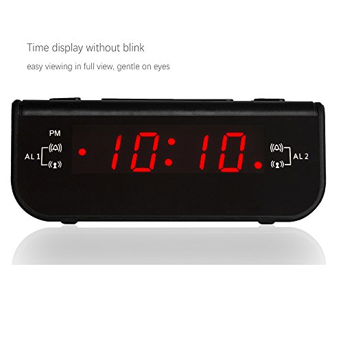 peakeep compact digital fm alarm clock radio with dual alarm snooze sleep t. Black Bedroom Furniture Sets. Home Design Ideas