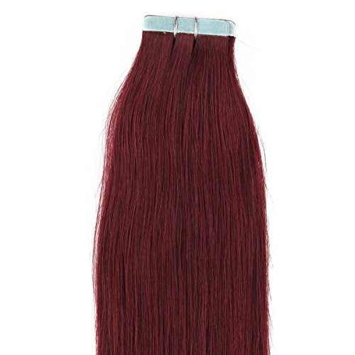 "Beauty7 16"" 18"" 20"" 22"" 24"" 26"" 28"" Tape In Real Human Hair Extensions #99J Red Plum 45-50G 20 Pieces (20"" 50G) front-12132"
