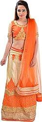 Panchi Women's Orange and Beige Net Lehenga (P-Jalsa-3085)