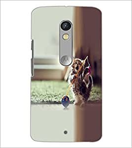 PrintDhaba Playing kitty D-2140 Back Case Cover for MOTOROLA MOTO X PLAY (Multi-Coloured)