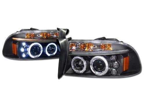Blk Led Halo Rims Projector Head Lights Lamps Signal Dakota/98-03 Durango
