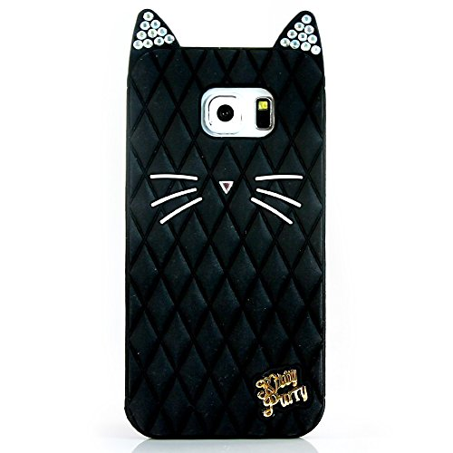 TISHAA Samsung Galaxy S5 Case, Cute Black Bling Cat Protective Soft Skin Cover Silicone Rubber Cell Phone Case (Cute Protective S5 Case compare prices)
