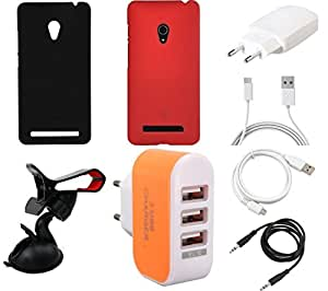NIROSHA Cover Case Charger USB Cable Mobile Holder for ASUS Zenfone 6 - Combo