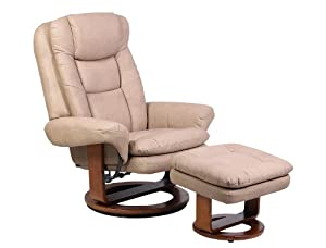 Mac Motion Chairs 802-22-103 Nubuck Bonded Leather Swivel, Recliner with Ottoman, Stone