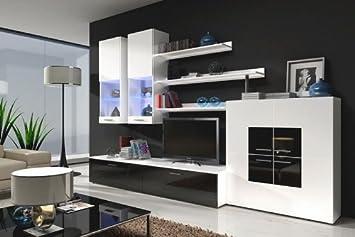 Muebles Bonitos - Mueble de salón Violeta negro y blanco mod 2 (3 m), (otros colores disponibles)