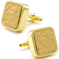 Retro Engraved Flower in Gold Cufflinks