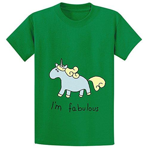 Snowl Fabulous Unicorn I Am Fabulous Youth Crew Neck Print T-shirt Green