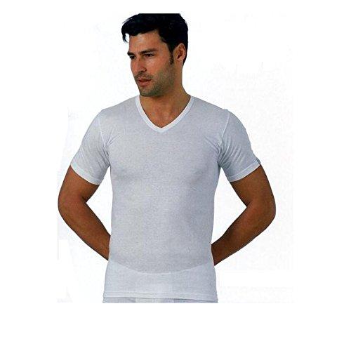 3 maglia corpo uomo RENATO BALESTRA m/m scollo a V jersey cotone 100% color bianco art.ibiza (L)