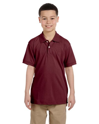 Harriton Youth 5.6 Oz. Easy Blend Polo - Wine - M