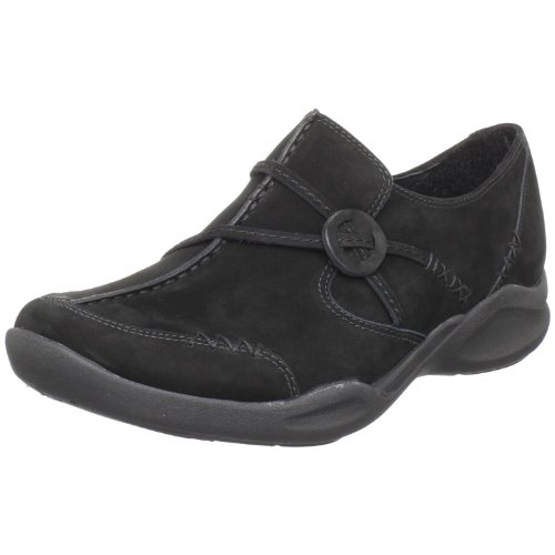 Clarks Women's Wave.Run Slip-On,Black Nubuck,6.5W US