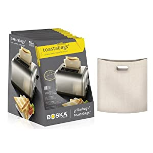 """Toastabags Three Reusable Non-Stick Sandwich/Snack """"In Toaster"""" Grilling Bags, Pack of 3"""
