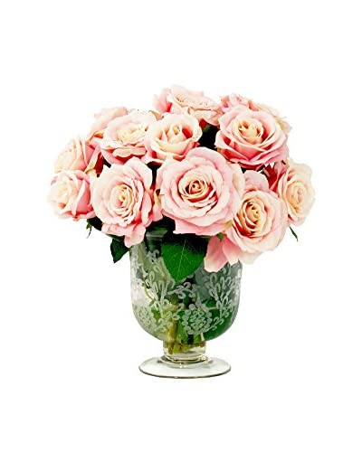 Creative Displays Rose Bouquet in Crystal Vase, Pink/Green