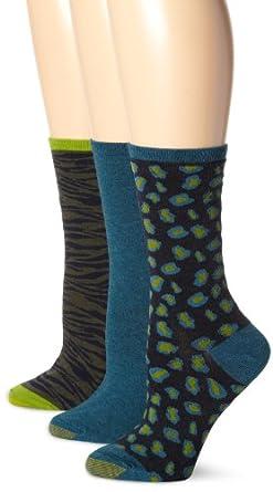 Gold Toe Women's Animal Print 3 Pair Fashion Pack Dress Socks, Royal, 9-11