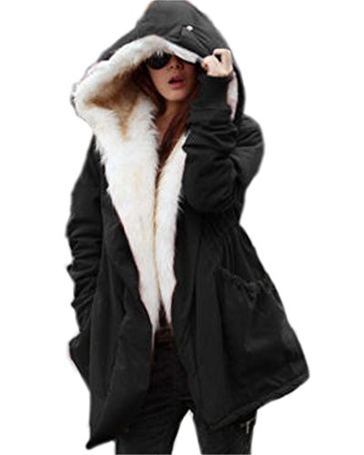 Roiii Women Thicken Warm Winter Coat Hood Parka Overcoat Long Jacket Outwear (3XL(16), Black)