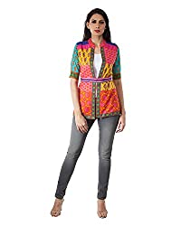 Vintage Earth People Women's Cotton Short Sleeve Jacket(SS15EQIJKTALZ501, Multicolor, Small)