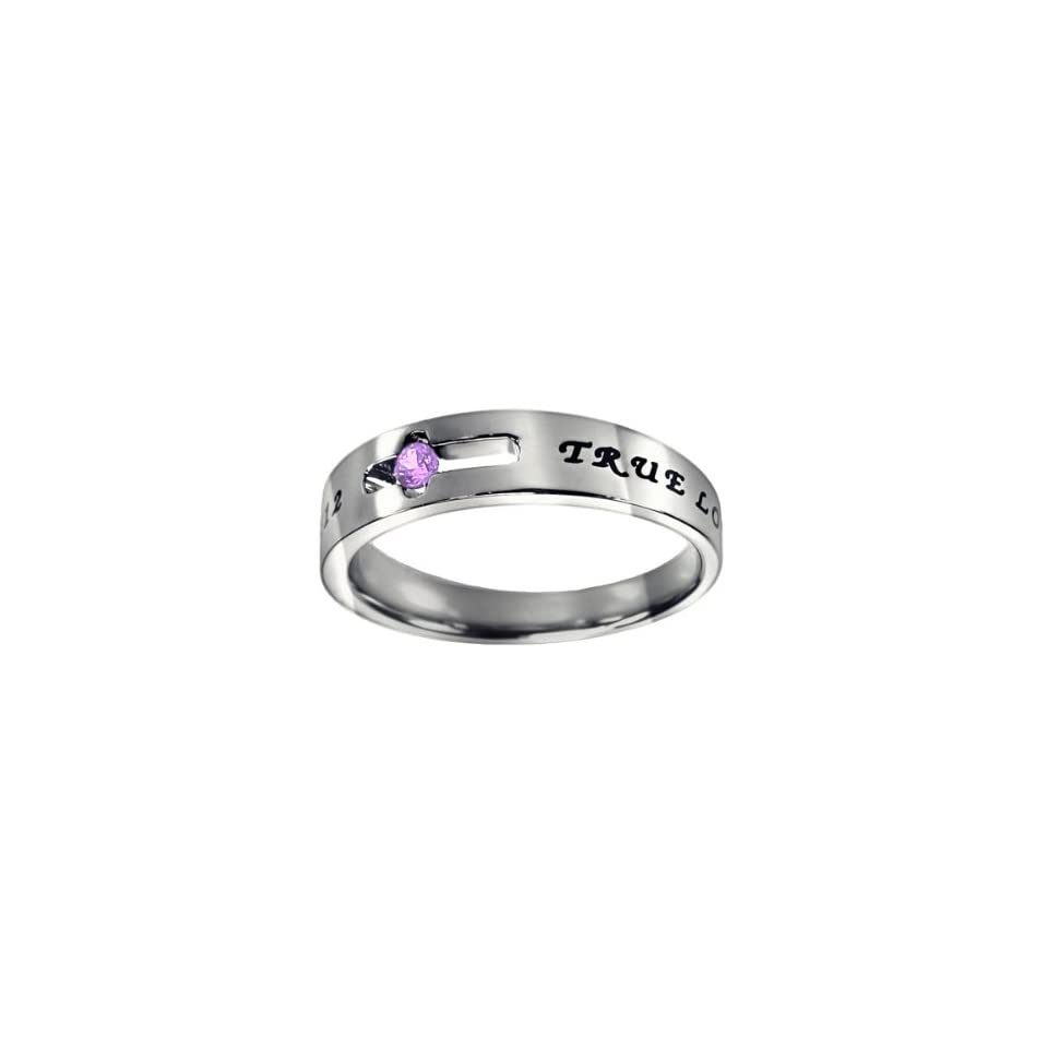 """Christian Women's Stainless Steel Abstinence Cutout Cross June Birthstone Light Amethyst Colored Cubic Zirconium Solitaire """"True Love Waits"""" 1 Timothy 412 Comfort Fit Chastity Ring for Girls   Girls Purity Ring Jewelry"""