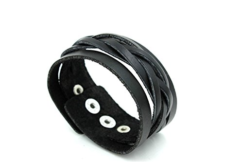Modern Fantasy Classical Black Braided Length Smooth Surface Snap Closure Length Leather Wrap Bracelet