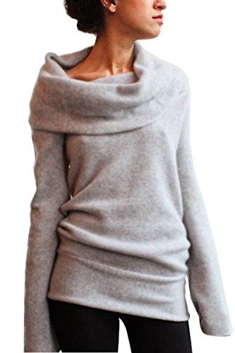 Women Draped Neck Hoody Jumper Mini Dress Sweater (Asian XL(US L), Gray) (Gray Cowl Neck Sweater compare prices)