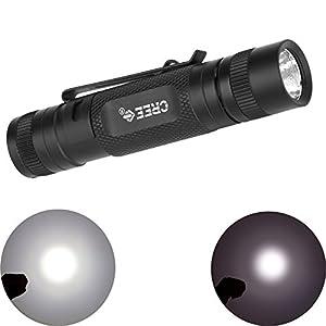 eKugo (TM) buceo Linterna Cree Q5LED 300lm linterna fuerte/débil/luz estroboscópica luz blanca con Clip práctico impermeable duradero P31linternas LED