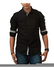 Nick&Jess Mens Classic Black Casual Shirt With Contrast-Slim Fit