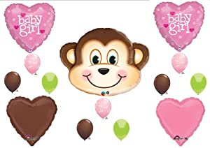 It 39 s a girl monkey baby shower balloons decorations supplies jungle safari toys games - Monkey balloons for baby shower ...