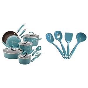 Rachael Ray Cucina Hard Porcelain Enamel Nonstick Cookware Set, 12-Piece, Agave Blue and Calypso Basics Utensil Set of 4, Turquoise Bundle