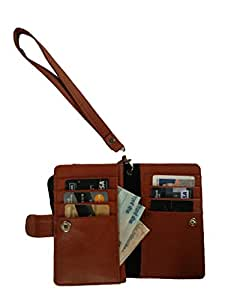 Generic Premium Leather Fabric Travel Holder Pouch for - LG Lucid 3 - Brown - TLPLBR50#1017DR