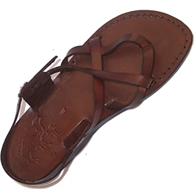 Unisex Adults/Children Genuine Leather Biblical Sandals / Flip flops (Jesus - Yashua) Jesus -Yashua Style III - Holy Land Market Camel Trademark - European 35
