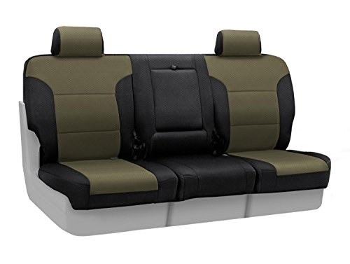 Coverking Custom Fit Front 40/20/40 Seat Cover for Select Ford Models - Spacermesh 2-Tone (Taupe with Black Sides)