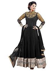 Surat Tex Black & Gold Color Party Wear Embroidered Soft Net Semi-Stitched Anarkali Suit-I15DL2001