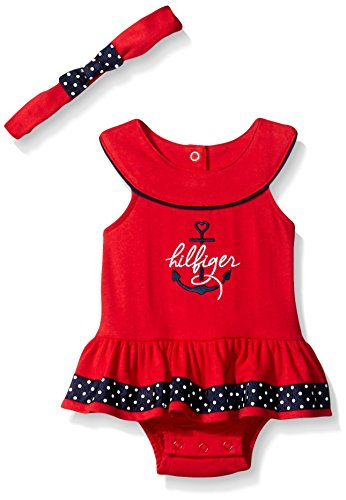 Tommy Hilfiger Baby Girls' Combed Interlock Sunsuit with Printed Ribbon and Headband, Red, 12 Months