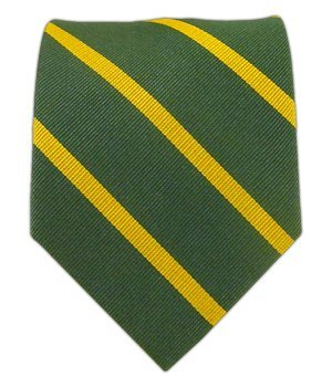 100 woven silk grass green and gold trad striped tie at