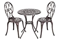 Patio Sense 3-Piece Antique Bronze Cast Aluminum Bistro Set from Well Traveled Living - DROP SHIP