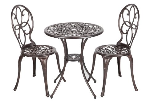 Patio Sense 3-Piece Antique Bronze Cast Aluminum Bistro Set image