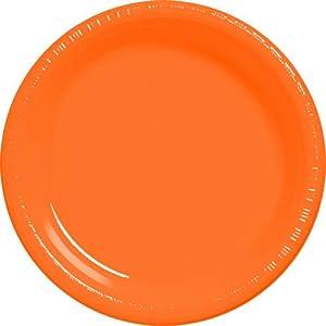 Amscan International 22.8cm Plastic Plate (Orange)