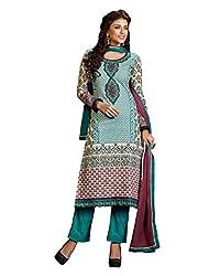 Admyrin Women Teal Cambric Cotton Salwar Kameez