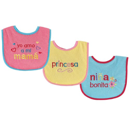 Luvable Friends SpanishBibs, Pink, 3-Count - 1