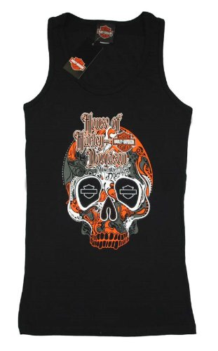 House of Harley-Davidson® Women's Harley-Davidson® Sugar Black Skull 100th Anniversary Tank T-Shirt. House of Harley-Davidson® Graphics on Back. Black. Tee. 302962650