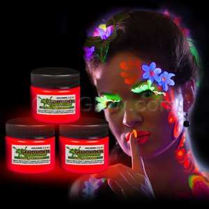 Glominex Glow in the Dark Face and Body Paint 1 oz Jar - Red