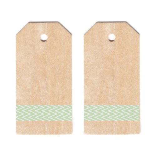 Dress My Cupcake Classic Wooden Gift And Favors Tags Diy Kit, Classic Mint Green Chevron front-516293