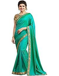 Krishna Fab Women's Pure Silk Saree With Blouse Piece (A12_Aqua_Green)